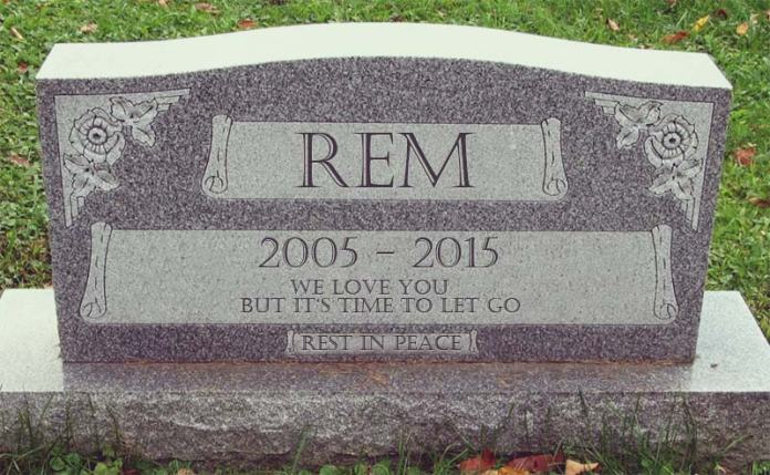 Gravestone of REM 2005 - 2015