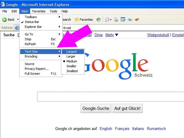 IE6 Screenshot showing font size configuration